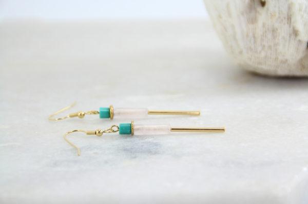 HINDI Boucles d'oreilles // Plaqué or, Quartz rose et Turquoise véritable