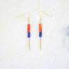 JOE Boucles d'oreilles // Plaqué Or, Pierres fines en Cornaline et Lapis Lazuli - Les Pierrettes Paris