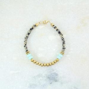 ALABAMA Bracelet // Plaqué Or, Amazonite et Jaspe Dalmatien - Les Pierrettes Paris