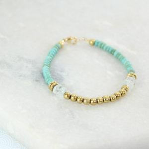 BAKHA Bracelet // Plaqué Or, Turquoise et Aigue-Marine - Les Pierrettes Paris
