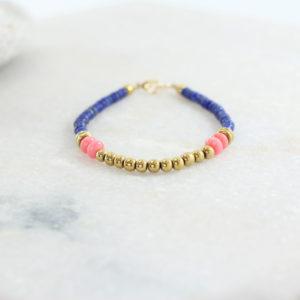 SIERRA Bracelet // Lapis Lazuli et perles Plaqué Or - Les Pierrettes créatrice bijoux Paris