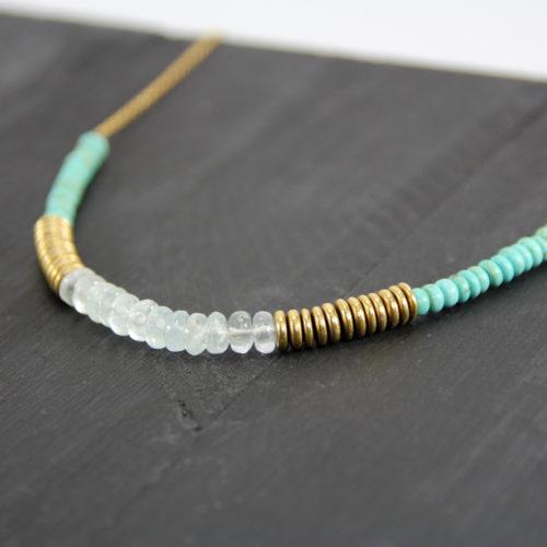 BAKHA Collier court // Plaqué Or, Turquoise et Aigue-Marine