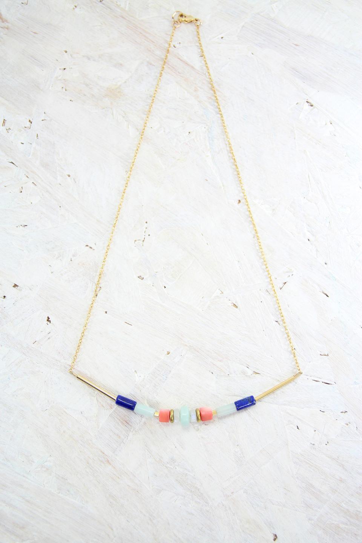 ALOHA Collier // Plaqué Or, pierres fines et corail - Les Pierrettes Paris